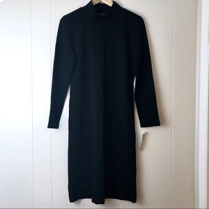 Vintage Bodycon Black Long Sleeve Mock Neck Midi